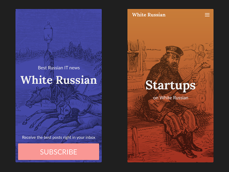 White Russian Mobile mobile responsive illustrations ui russian white background colours gradient image header