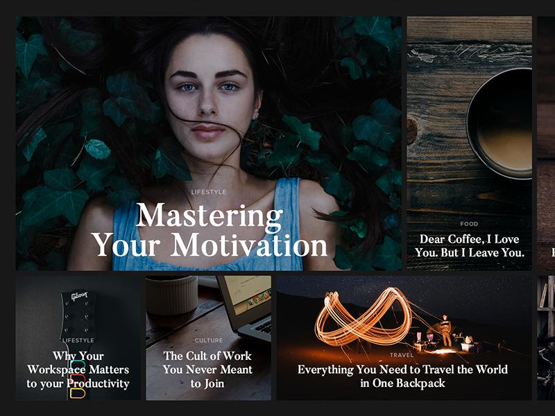 Online Magazine Dark Layout cover dark webdesign clean content design article header photos layout magazine