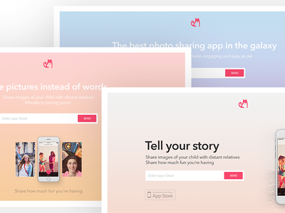 Photo Sharing App Landing Page app store mobile app typography minimal gradient website design pastel clean webdesign landing page