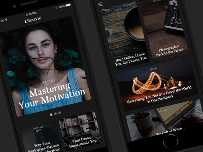 Online Magazine Dark Mobile Layout responsive webdesign clean content design article header photos minimal layout magazine