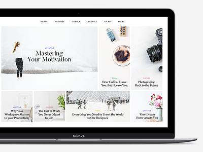Online Magazine Layout layout minimal header article content design clean webdesign tiles magazine