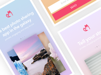 Photo Sharing App Landing Page, Mobile Layout