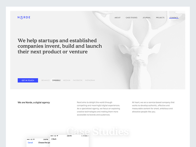 Norde Digital Agency clean white minimal deer landing page homepage website design studio agency norde