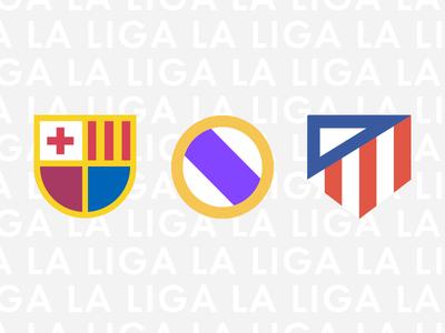 La Liga Minimal Logos real barcelona la liga spain clubs football logo