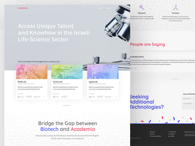 Academix Homepage science landing page homepage gradient blue red website design page biotech academix