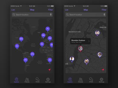 Explore Map Screens navigation location explore pin google maps purple map dark mobile app