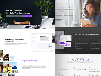 Heroik Landing Page website marketing dashboard website builder desktop web design minimal clean purple landing page heroik
