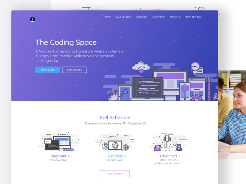 Coding Space Landing Page header image website design landing page cover web design