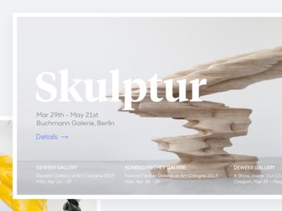 Tony Cragg Personal Website, Exhibition Cover desktop web design exhibition website design white sculpture art minimal grey clean