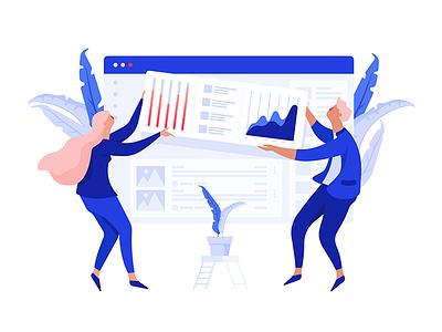 WIP Sneak Peek graph art artistic blue flat people dashboard illustration