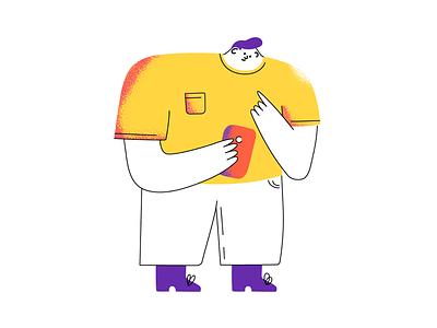 Weirdo weirdo cute big yellow weird mobile character art illustration