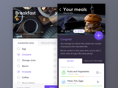 Food App meals clean ios diet food app food ui app mobile