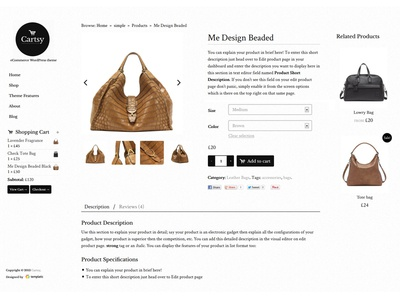 Cartsy - e-Commerce WordPress Theme UI/UX