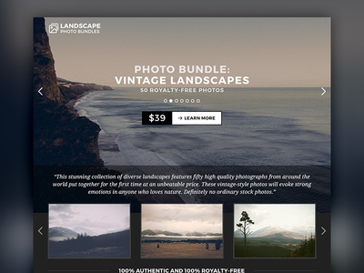 Single Page Website – Landscape Photo Bundles