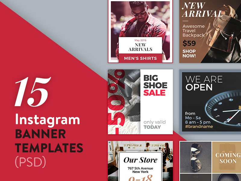 15 Instagram Banner Templates Psd Typography Facebook Fashion Design Photo Template Social