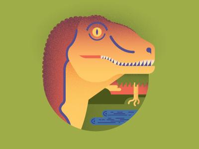 Your friendly Deinonychus dinosaur cretaceous doodle tree pond