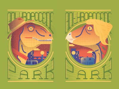 Anthropocene Park dinosaur city park pattern
