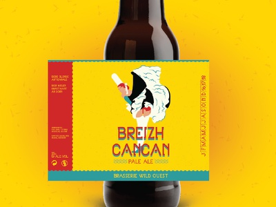 Breizh Cancan seahorse cowboy far west western brittany bottle typography font bigouden cancan tag beer