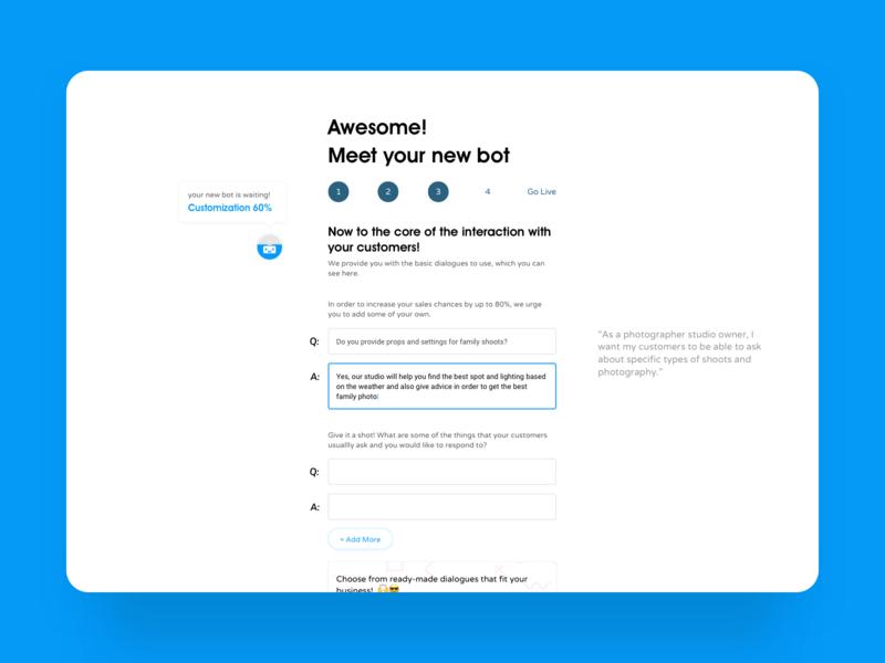 Onboarding - Sales Chatbot Builder steps minimal free walkthrough onboarding web chatbots chatbot bot layout design ux ui