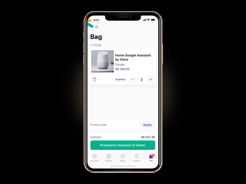 Bag - E-Commerce App products bag checkout free ecommerce design ecommerce application platform appdesign mobile minimal ios app design ux ui