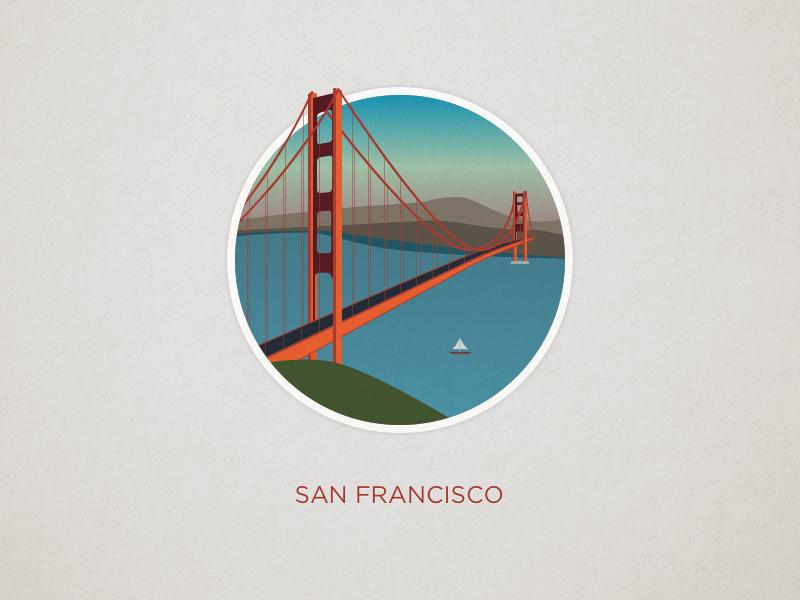 San Francisco illustration bridge gate golden california bay san francisco