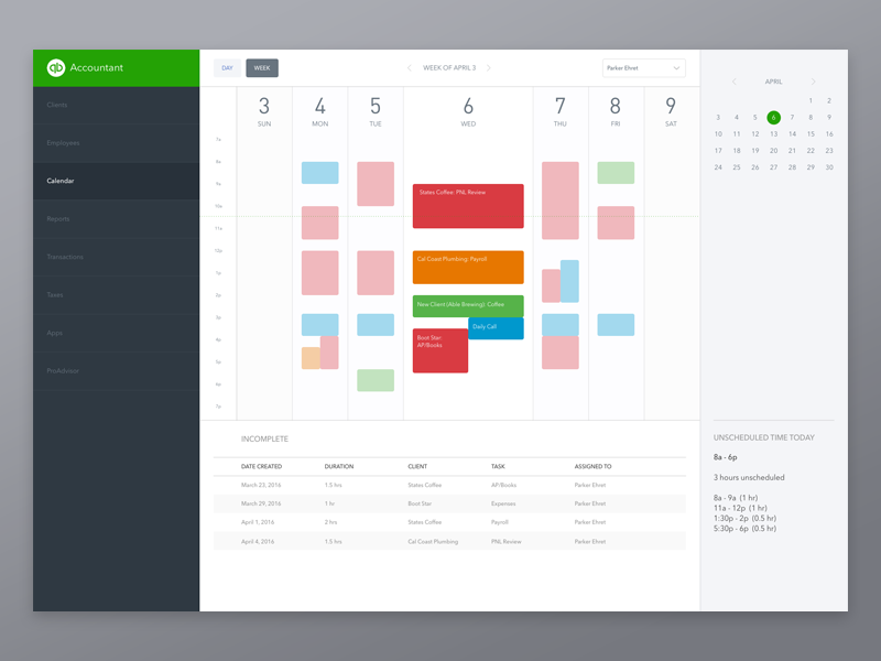 Accounting Calendar: Week View tab sidebar task account schedule event view week calendar dashboard