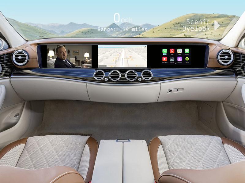 Self-Driving Infotainment Dashboard dashboard future concept nav carplay apple mercedes self-driving car