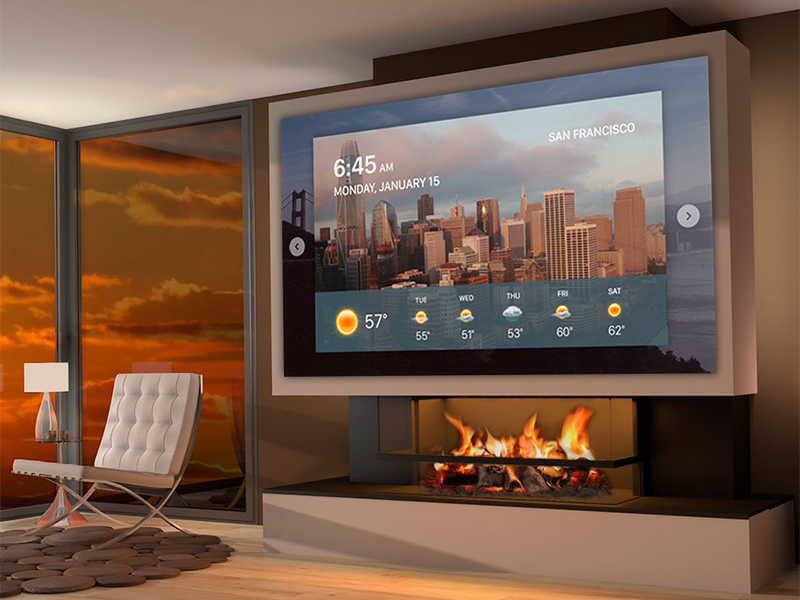 Living Room Dashboard Concept concept future morning tv app san francisco city ui fui weather touchscreen dashboard