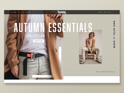 Darning - Autumn Essentials interaction manchester photoshop advert landingpage darning essentails autumn clothing webdesign branding