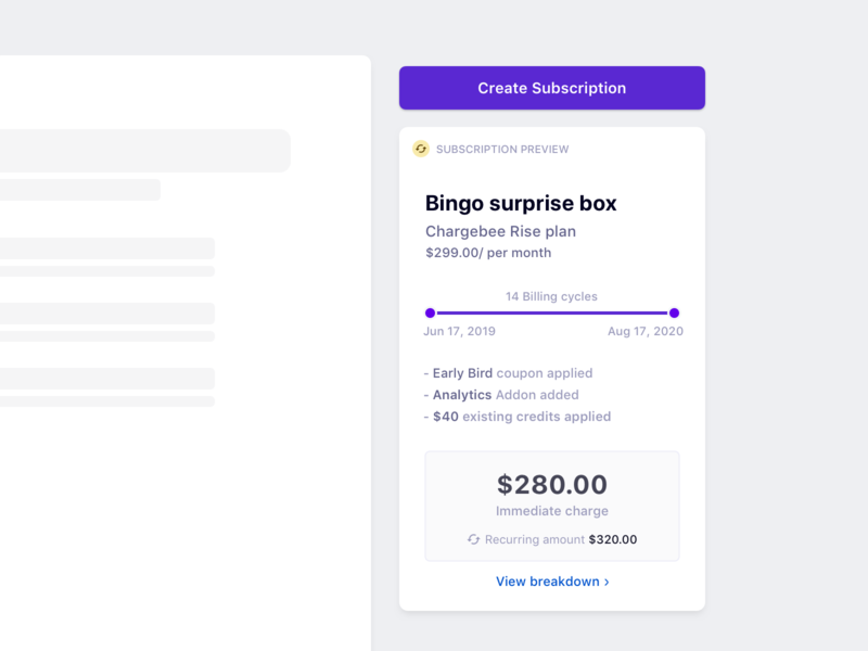 Create subscription preview