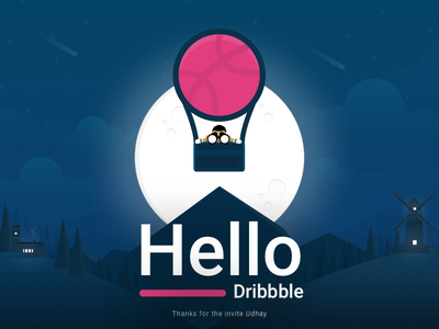 Hello Dribbble! thanks letsball scenic airballoon mountains darksky moon illustration letsplay firstshot debut