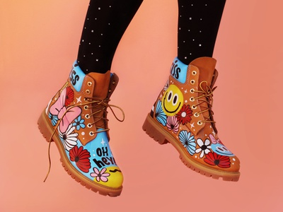 LMT Timbs acrylic paint painted handpainted customleather customshoes custompainted custom