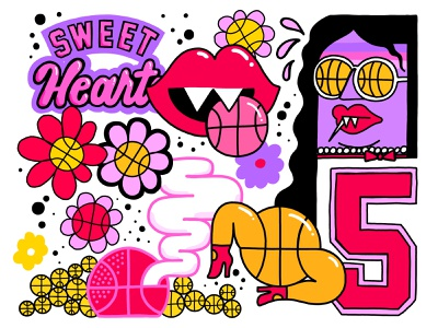 Sweet Hearts WIP apple pencil ipad basketball sports wip stickers vector illustration