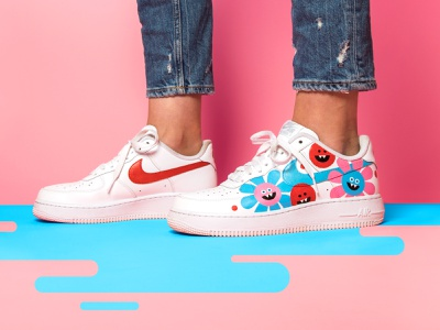 Lindsey Made This AF1 flowers paint nike acrylic painted custom paint custom shoes