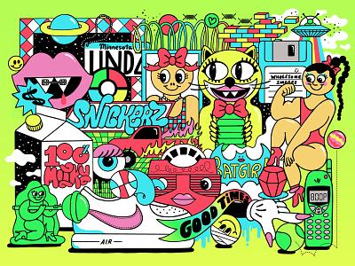 Copy&Cats / Alejandro Parrilla typography toys collage vector illustration