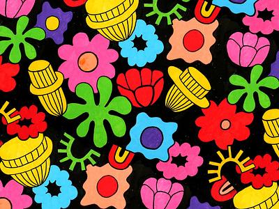 Flowers color paintpen acrylic paint flowers posca pattern