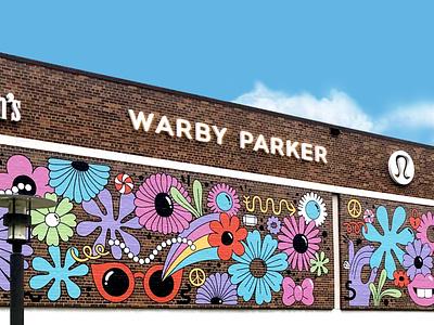 Galleria FloralPop mural vinyl flowers illustration building wrap mural