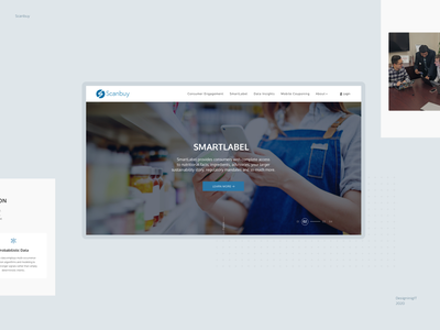 scanbuy website branding innerpages blue and white logo responsive design homepage ux  ui