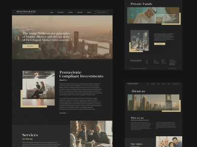 Pentavirate Compliant Investment  Website design corporate design dark theme dark ui investment finance business responsive design innerpages ux  ui homepage