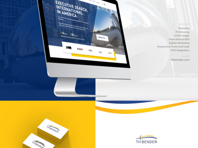 TH Bender - executive search company yellow website blue website innerpages branding ux  ui logo design homepage