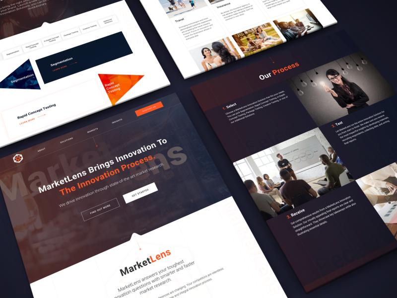 MarketLens Research website dark website uiux design homepage innerpages