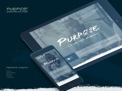 Purpose Workforce Solutions Website dark blue website typography responsive design handwriting font mobile design innerpages ux  ui blue website dark website homepage