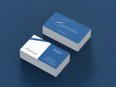 Branding. Business card blue and white investing company branding minimalistic design dark design business card