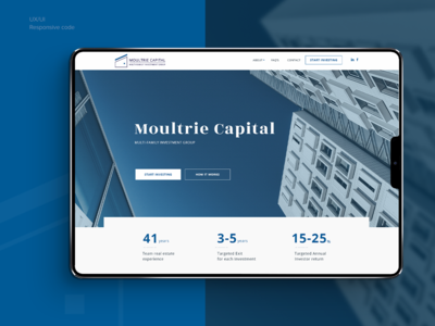 Moultrie Capital Webdesign corporate branding finance business ux  ui responsive design blue website homepage
