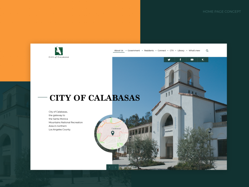 City of Calabasas - Homepage concept concept ui web design green orange homepage