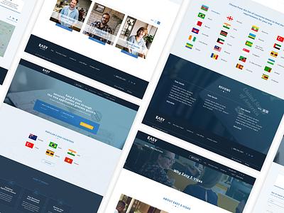 Easy e-visas website visa company travel company ux  ui innerpages homepage