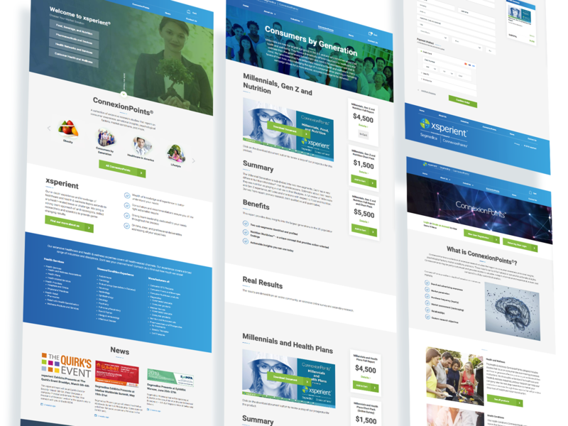 Xsperient - inner pages blue and white ux  ui innerpages