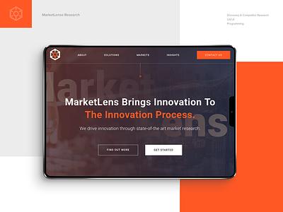 MarketLense homepage design hero image dark theme orange uxui