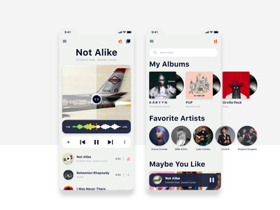 Music Player player music app music adobe xd app ux ui design
