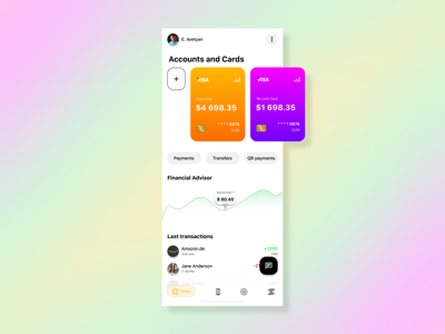 Banking App payment transfer bank card card uiux transaction banking app bank app banking financial figmadesign figma app ux ui design